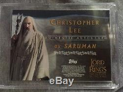 LOTR Return Of The King Topps Autograph Card Christopher Lee/Sauron New Offer