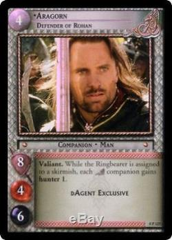 LOTR TCG 0P127 Aragorn Defender of Rohan FOIL DAgent Exclusive Mint Never Played