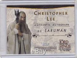 Lord Of The Rings FotR Autograph Card Christopher Lee As Saruman