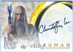 Lord Of The Rings FotR Autograph Card Christopher Lee As Saruman Black Variant