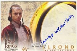 Lord Of The Rings FotR Autograph Card Hugo Weaving As Elrond