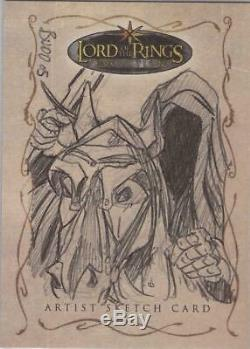 Lord of the Rings Evolution Dennis Budd Nazgul on Steed Sketch Card
