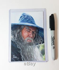 Lord of the Rings GANDALF McKellen WIZARD LOTR 4x6 inches 1 of 1 ORIGINAL ART