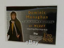 Lord of the Rings LOTR Two Towers AUTO autograph Card Dominic Monaghan Merry
