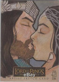 Lord of the Rings Masterpieces Jon Ocampo Aragorn & Arwen Sketch Card
