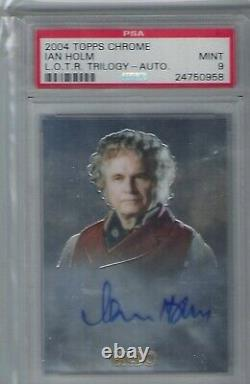 PSA 9 MINT Ian Holm Bilbo Autograph Signed Lord of the Rings 2004 Chrome