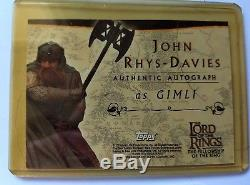 Rare TOPPS Lord of the Rings FOTR John Rhys-Davies as Gimli AUTOGRAPHED