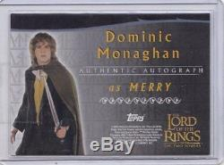 The Lord Of The Rings Autograph Card Dominic Monaghan As Merry