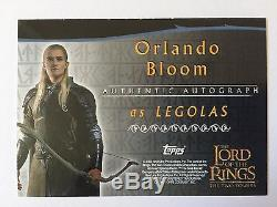 Topps 2002 Lord Of The Rings Orlando Bloom as Legolas Autograph Card LOTR Auto
